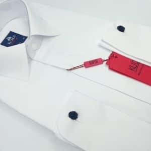 Koszule długi rękaw Koszula Slim fit ślubna biała Kudi