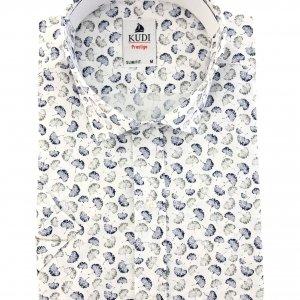 Koszula Kudi Slim fit biała liście