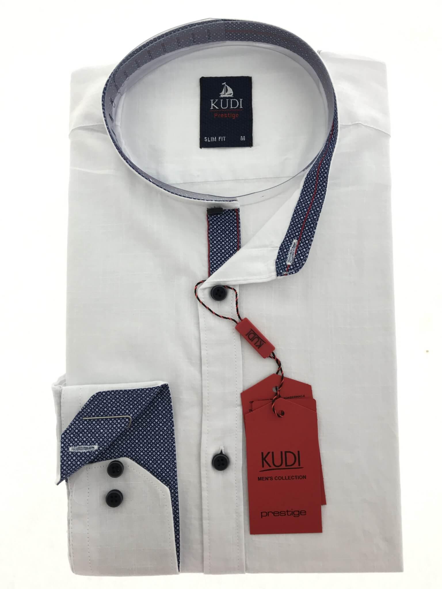 Koszule długi rękaw Koszula Kudi Stójka Biała