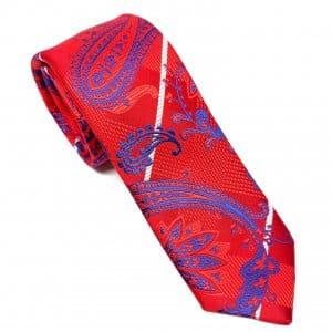 Dodatki Elegancki Krawat Soczysta Czerwień Granatowy Wzór