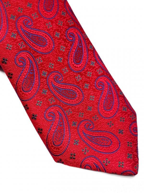 Dodatki Elegancki Krawat Czerwień Kwiatki