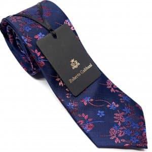 Dodatki Elegancki Krawat Granatowy z Motywem Kwiatowym