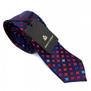 Dodatki Elegancki Krawat Granatowy Krzyżyki