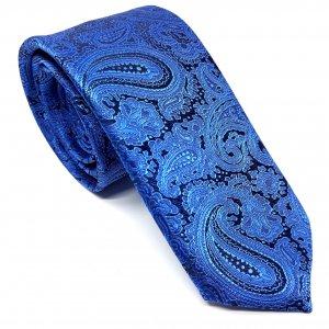 Dodatki Elegancki Krawat Szafirowy Turecki Wzór