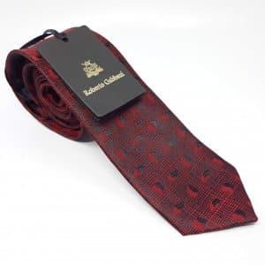 Dodatki Elegancki Krawat Bordowa Kratka