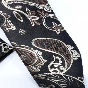 Dodatki Elegancki Krawat z Poszetką Brązowy Wzór