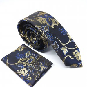 Dodatki Elegancki Krawat z Poszetką Czarno Złoty