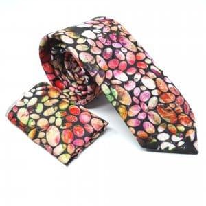 Dodatki Elegancki Krawat z Poszetką Kolorowe Kamyki