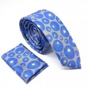 Dodatki Elegancki Krawat z Poszetką Szary Niebieskie Koła