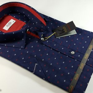 Koszula Kudi Slim Granat wzór