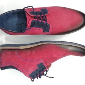 Buty półsportowe nubuk czerwona skóra