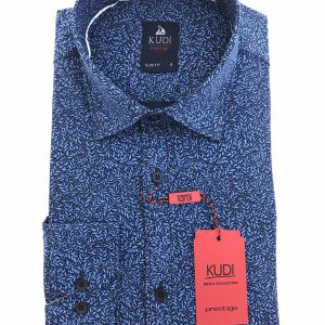 Koszule długi rękaw Koszula Granat Wzór Slim