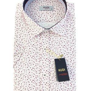 Koszula Kudi Slim fit Biała Czerwone listki