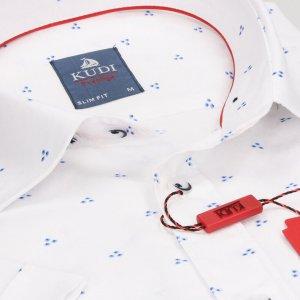 Koszula Kudi Slim fit biała kropki