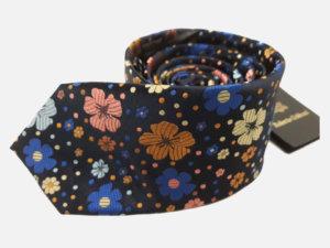 Krawat-Roberto-Gabbani-Czarny-motyw-kwiatowy v1