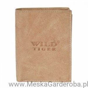 Dodatki Portfel męski skórzany poziomy Wild Tiger jasny brąz
