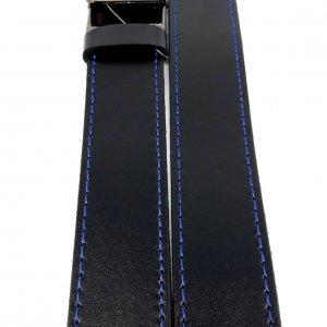 Pasek skórzany czarny z niebieskim obszyciem – automat