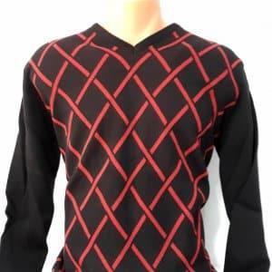 Sweter Czarny Czerwony Kudi