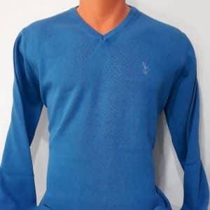 Swetry Sweter Męski Niebieski