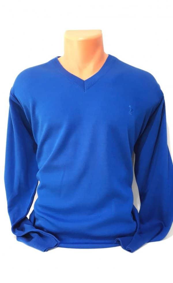 Sweter szafirowy niebieski serek żywy kolor