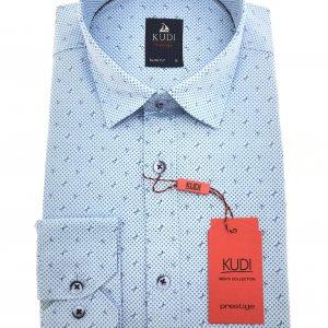 Koszule długi rękaw Koszula Kudi Slim Niebieska