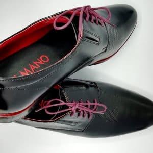 Buty czarne czerwone skóra