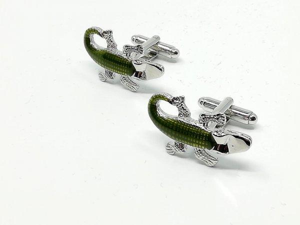Dodatki Spinki do mankietów krokodyle zielone