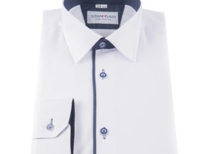 Koszula biała kobaltowy pasek