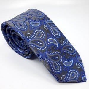 Dodatki Elegancki Krawat Popiel Niebieski Wzór