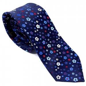 Dodatki Elegancki Krawat Granatowe Kwiaty