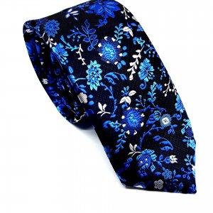 Dodatki Elegancki Krawat Czarny Kwiatki Szafirowe