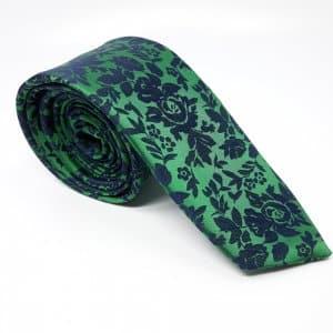 Dodatki Elegancki Krawat Zielony Granatowe Kwiatki