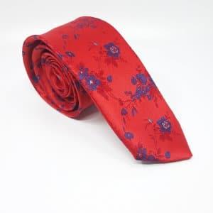 Dodatki Elegancki Krawat Czerwony Chabrowe Kwiaty