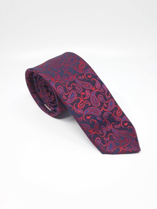 Dodatki Elegancki Krawat Piotr Czerwony  Granat