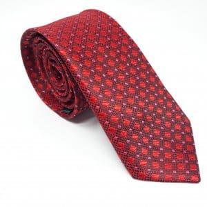 Dodatki Elegancki Krawat Czerwono Bordowy Romby