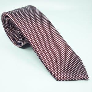 Dodatki Elegancki Krawat Bordowy Biała Szachownica