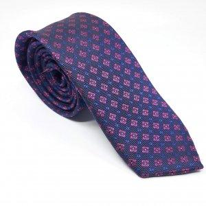 Dodatki Elegancki Krawat Granatowy Różowe Kwiatki