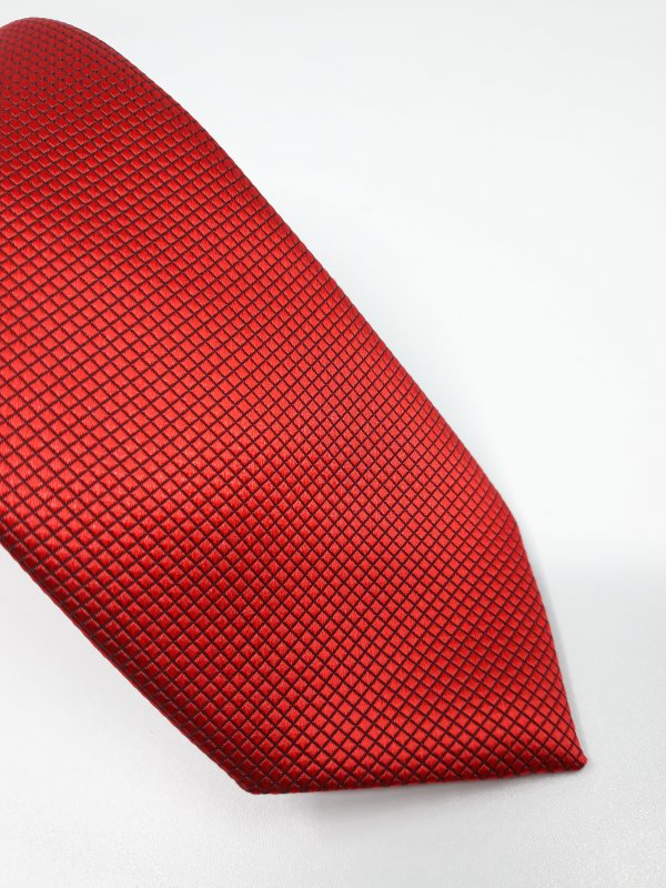 Dodatki Elegancki Krawat Piotr Czerwono Czarny Kratka