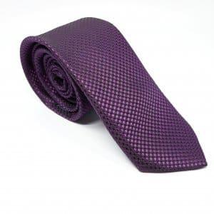 Dodatki Elegancki Krawat Fioletowy Czarne Kropki