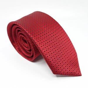 Dodatki Elegancki Krawat Czerwony Tłoczone Kółka