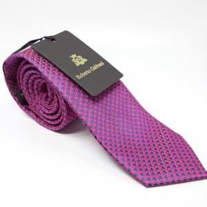 Dodatki Elegancki Krawat Różowy Granatowy Wzór
