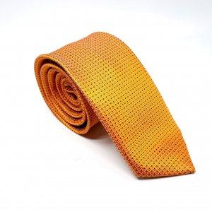 Dodatki Elegancki Krawat Pomarańczowy w Czarne Kropeczki