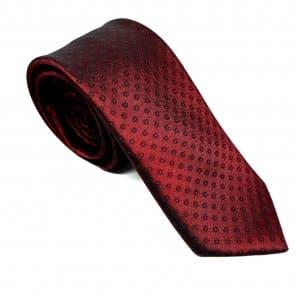 Dodatki Elegancki Krawat Bordowy Kwiatuszki