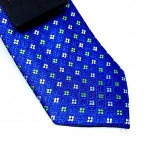 Dodatki Elegancki Krawat Szafirowy Seledynowe Kwadraciki