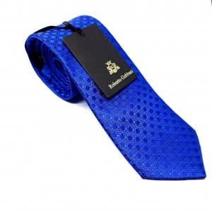 Dodatki Elegancki Krawat Szafirowy w Tłoczone Kółka