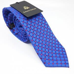 Dodatki Elegancki Krawat Szafirowy Czerwone Kwadraty