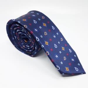 Dodatki Elegancki Krawat Granatowy Kolorowe Wzorki