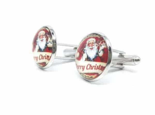 Dodatki Świąteczne Spinki do mankietów Mikołaje