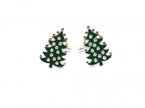 Dodatki Świąteczne Spinki do mankietów Zielone Choinki