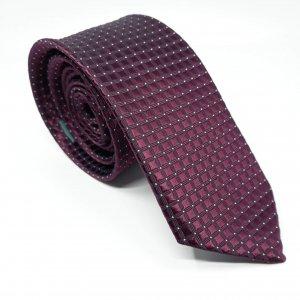 Dodatki Elegancki Krawat Bordowy Kratka